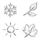 Sketch Season Icons — Stock Vector