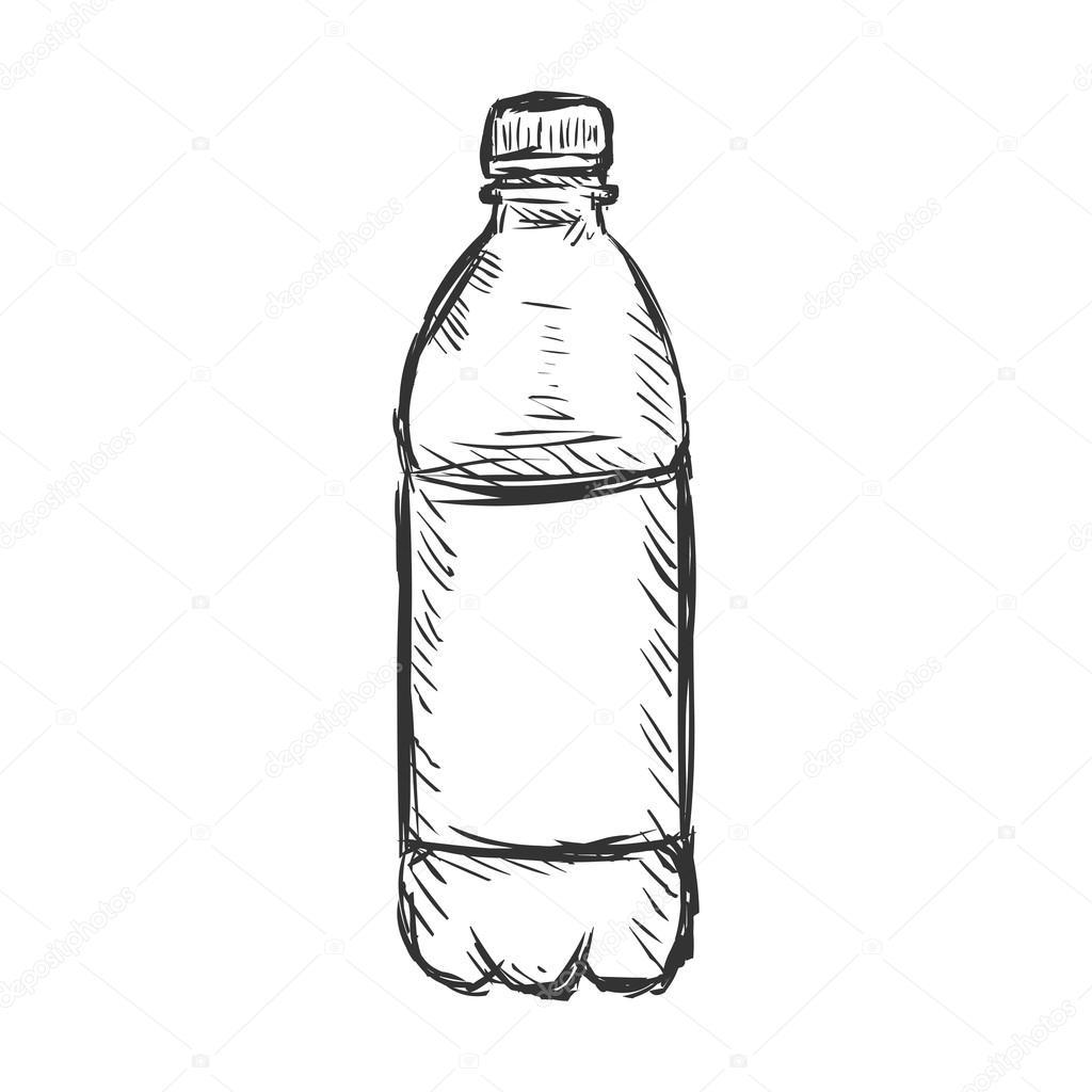矢量单素描塑料瓶的水– 图库插图