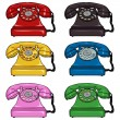 Set of Color Retro Rotary Phones — Stock Vector #64849851