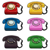 Set of Color Retro Rotary Phones — Stock Vector