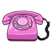 Cartoon Retro Rotary Telephone — Stock Vector