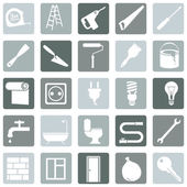 Set of  Construction and Decoration Icons — Stock Vector