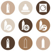Set of Condom Icons. — 图库矢量图片