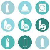 Set of Condom Icons. — Stock Vector