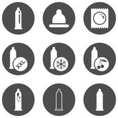 Set of Condom Icons. — Stock Vector