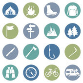 Set of Hiking and Camping icons — Stockvektor