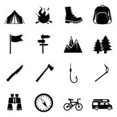 Set of Hiking and Camping icons — Stock Vector