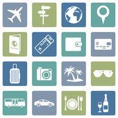 Seyahat ve tatil simgeler kümesi — Stok Vektör