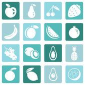 Zbiór owoców ikony — Wektor stockowy