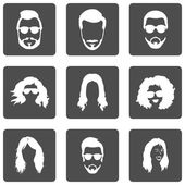 Set of Hairstyles Icons — Stock Vector