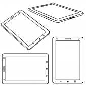 Set of Lineart Tablets PC — Stock Vector