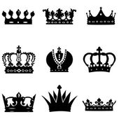 Set of 9 crown icons — Stock Vector