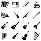 Set of 16  musical instruments icons — Stock Vector
