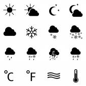 Set of 16 black weather icons — Stock Vector