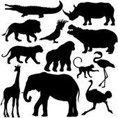 Set of tropical animals silhouettes — ストックベクタ