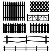 Set of rural fences silhouettes — Stock Vector