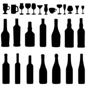 Set  of Bottles and Stemware Silhouettes — Stock Vector