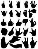 Set of Finger Gestures Silhouettes — Stock Vector