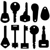 Set of Silhouette Modern Keys — Stock Vector