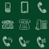 Set of Chalk Telephone Icons — Stock Vector
