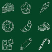 Set of Chalk Dessert Icons. — Stock Vector