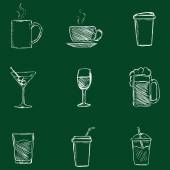 Set of Chalk Drinks Icons. — Stock Vector
