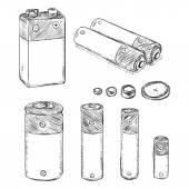 Set of Sketch Batteries — Stock Vector
