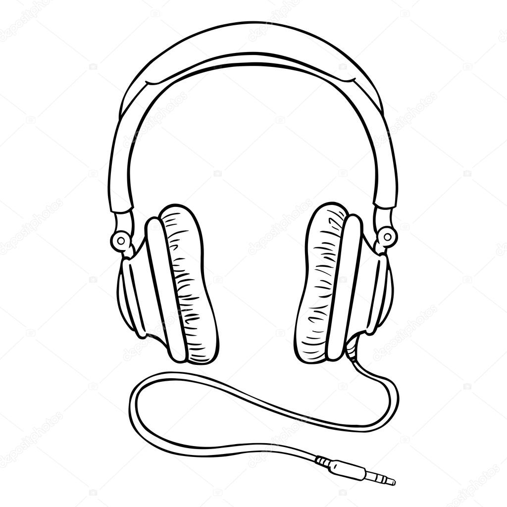 Line Art Headphones : Circumaural fones de ouvido com fio — vetor stock