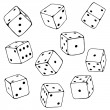 Set of Line Art Dices. — Stock Vector #76737879