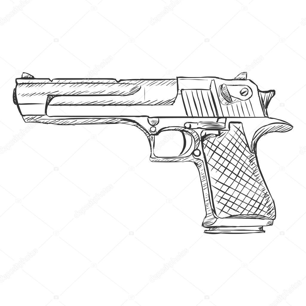 sketch desert eagle pistol stock vector 169 nikiteev 87130326