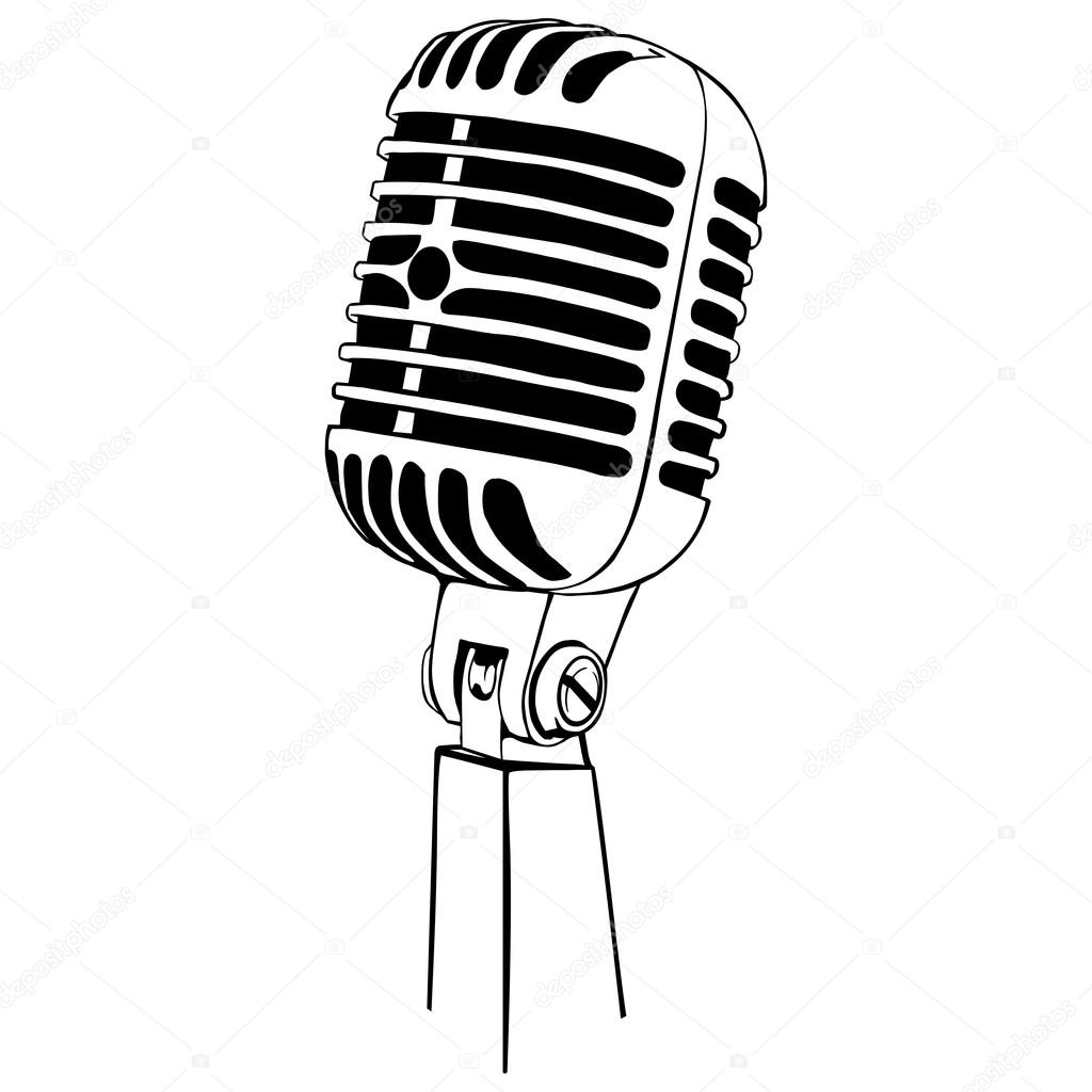 Line Art Microphone : 线条艺术品种麦克风 — 图库矢量图像 nikiteev