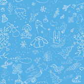 Seamless winter pattern on a blue background — Stock Vector