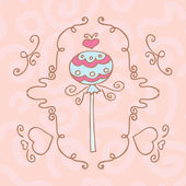 Retro frame with drawing candy on a stick — Stock Vector