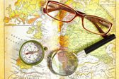 Magnetic compass old map — Stock Photo