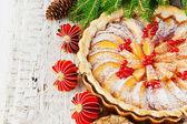 Christmas apple pie — Stock Photo