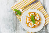 Canape with cottage cheese — Stock Photo