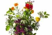 A bouquet of summer flowers isolated on white background. — Stock Photo