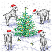 Goats and Christmas tree — Wektor stockowy