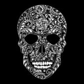 Human skull in floral shape  — Vector de stock