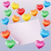 Heart shaped balloons background — Stock Vector