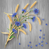 Cornflowers and wheat ears bunch on wood background — Stock Vector