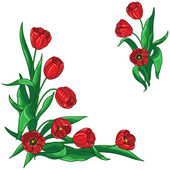 Red tulips bouquet frame  — Stockvektor