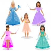 Cute Little Fairies and Princesses — Stock Vector