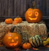 Two Smiling Pumpkins — Stock Photo