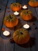 Pumpkins on a Wood Floor — Foto Stock