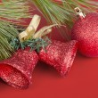 Red Christmas Balls and Bells — Stock Photo #57649777