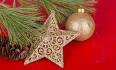 Gold Holiday Ornaments — Stock Photo