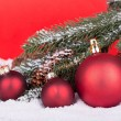 Three Red Christmas Balls — Foto de Stock   #58275899