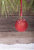 Hanging Red Christmas Ball — Stock Photo