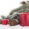 Two Red Christmas Candles — Stock Photo #59990225
